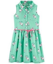 Little & Big Girls Unicorn-Print Cotton Shirtdress