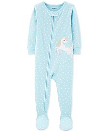 Toddler Girls 1-Pc. Heart-Print Pegasus Footed Pajamas