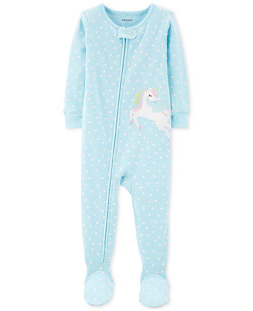 Carter's Toddler Girls 1-Pc. Heart-Print Pegasus Footed Pajamas