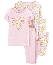 Little & Big Girls 4-Pc. Dream On Cotton Pajama Set