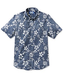 Men's Summer Pareau Slim-Fit Floral-Print Shirt
