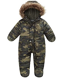 Baby Boys Hooded Camo-Print Footed Pram With Faux-Fur Trim