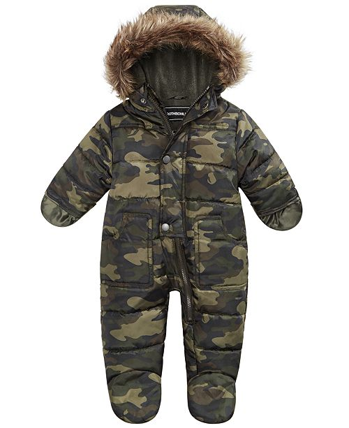 S Rothschild & CO Baby Boys Hooded Camo-Print Footed Pram With Faux-Fur Trim