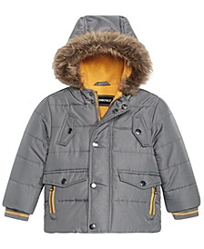 Baby Boys Hooded Parka With Faux-Fur Trim