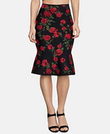 BCBGMAXAZRIA Floral-Print Pencil Sweater Skirt