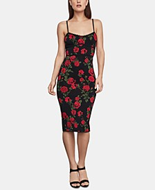 Floral-Print Sweater Bodycon Dress