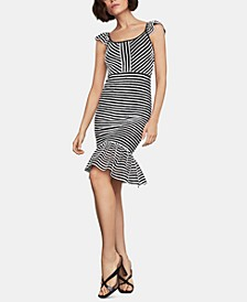 Striped Ruffled Sheath Dress