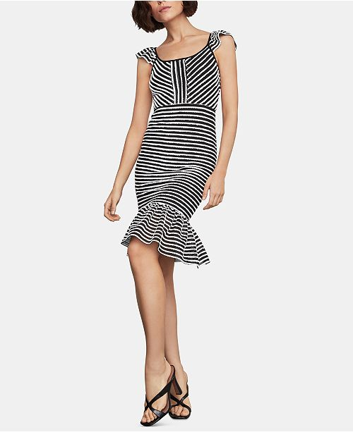 BCBGMAXAZRIA Striped Ruffled Sheath Dress