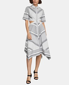 BCBGMAXAZRIA Cotton Printed Cutout Shirtdress