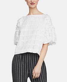 BCBGMAXAZRIA Bubble-Sleeve Fringe Top