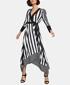 BCBGMAXAZRIA Mixed-Stripe Faux-Wrap Dress