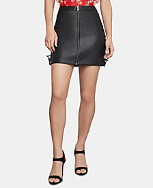Faux-Leather Lace-Up Mini Skirt
