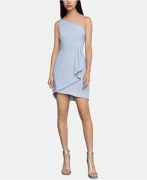 BCBGMAXAZRIA One-Shoulder Satin Sheath Dress