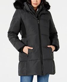 Vince Camuto Faux-Fur-Trim Down Puffer Coat