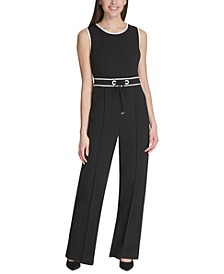 Piped Tie-Waist Jumpsuit