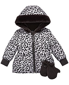 Baby Girls Leopard-Print Hooded Jacket & Mittens