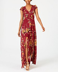 Juniors' Floral-Print Maxi Dress