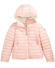 Little Girls Faux-Fur-Lined Hooded Puffer Jacket