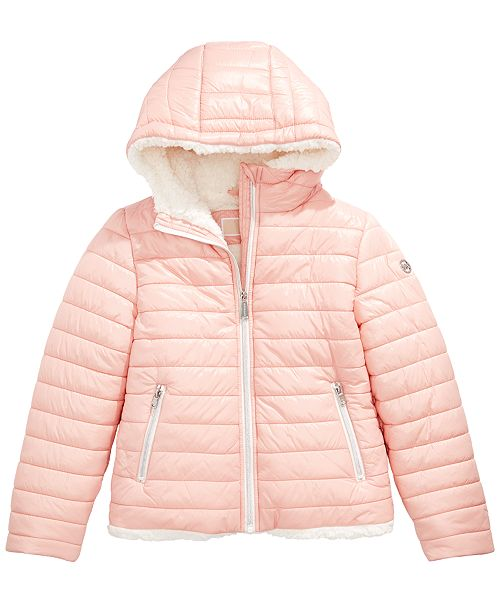 Michael Kors Toddler Girls Faux Fur Lined Hooded Puffer