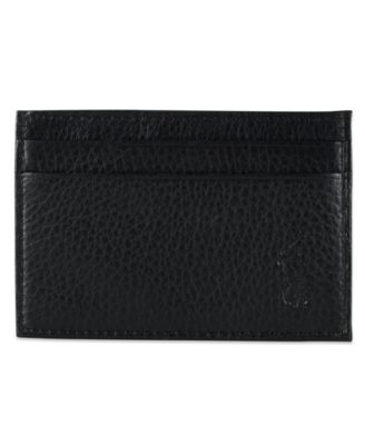 Polo Ralph Lauren Men\u0027s Wallet, Pebbled Credit Card Case and Money Clip