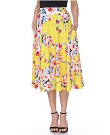 Floral Flared Midi Skirt