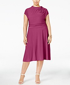 Plus Size Tie-Neck A-Line Dress