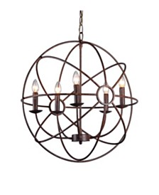 Abbyson Living Nia 5 Light Brass Chandelier