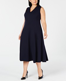 Calvin Klein Trendy Plus Size Fit & Flare Midi Dress