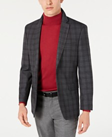 Tommy Hilfiger Men's Modern-Fit THFlex Stretch Gray/Brown Plaid Sport Coat