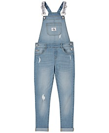 Big Girls Cotton Logo-Strap Denim Overalls