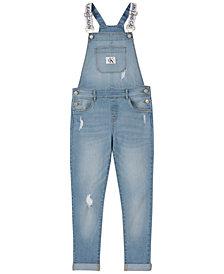 Calvin Klein Big Girls Cotton Logo-Strap Denim Overalls