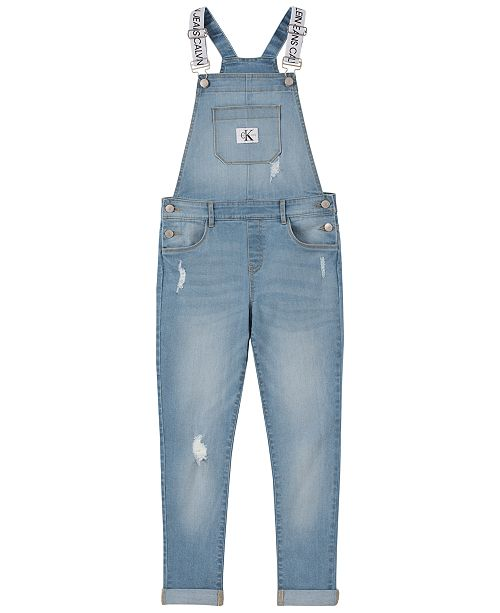 Calvin Klein Big Girls Cotton Logo-Strap Denim Overalls