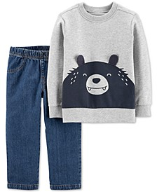Toddler Boys 2-Pc. Cotton Bear Top & Jeans Set
