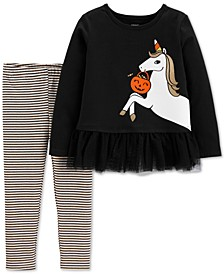 Toddler Girls 2-Pc. Glow-In-The-Dark Unicorn Top & Striped Leggings Set