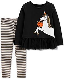 Toddler Girls 2-Pc. Glow-In-The-Dark Unicorn Top & Striped Leggings Set