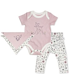 Baby Girls 3-Pc. Cotton Bambi Reversible Bib, Bodysuit & Pants Set