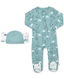 finn + emma Baby Boys 2-Pc. Cotton Dumbo Footed Coverall & Hat Set