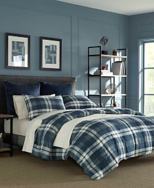 Nautica Crossview Plaid Navy Comforter Set, King