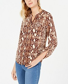 Petite Animal-Print Utility Shirt