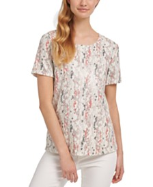 DKNY Printed Sequined Top