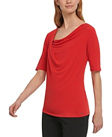 DNKY Draped-Neck Top