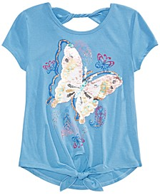 Big Girls Tie-Front Butterfly Flip Sequin T-Shirt