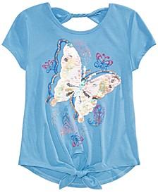 Big Girls Tie-Front Butterfly Flip Sequin T-Shirt