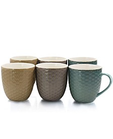 Honeysuckle 6 Piece 15 Ounce Mug Set, Assorted Colors