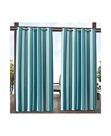 "Canopy Stripe Indoor/Outdoor Grommet Top 54"" X 84"" Curtain Panel Pair"