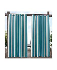 """Exclusive Home Canopy Stripe Indoor/Outdoor Grommet Top 54"""" X 84"""" Curtain Panel Pair"""
