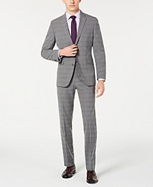 Men's Slim-Fit Ready Flex Stretch Light Gray Windowpane Suit