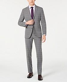 Men's Slim-Fit Ready Flex Stretch Light Gray Windowpane Suit