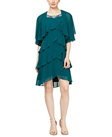Petite Embellished Tiered Chiffon Dress & Capelet
