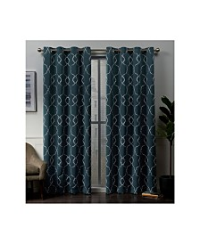 "Exclusive Home Belmont Embroidered Woven Blackout Grommet Top 52"" X 84"" Curtain Panel Pair"
